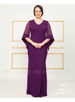 Sleeves Tulle Detailed Evening Dress