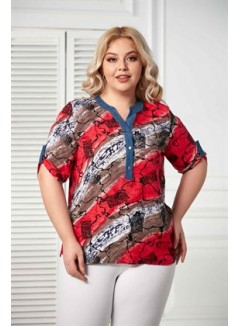 Sleeve Detailed Plus Size Viscose Coral Blouse