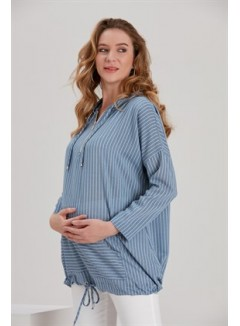 Hooded Striped Indigo Maternity Tunic