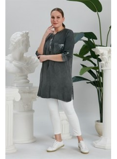 Pocket and Collar Sequin Detailed Smoked Plus Size Tunic