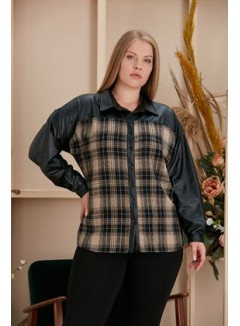 Plus size plaid shirt with leather detail