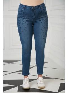 Stone Detailed Plus Size Kim Blue Pants