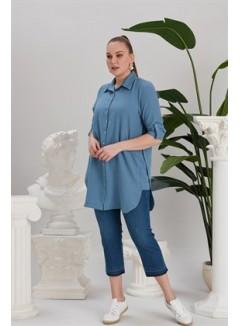 Slit Detailed Plus Size Indigo Shirt