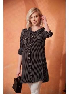 Pocket Zipper Detail Striped Maternity Black Shirt
