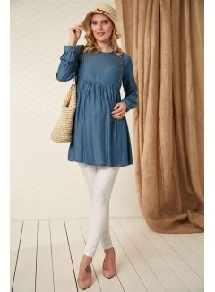 Button Detailed Pleated Who Blue Maternity Tunic