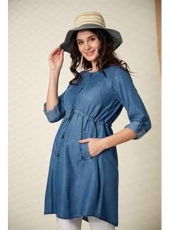 Button Detailed Kim Mavi Maternity Tunic